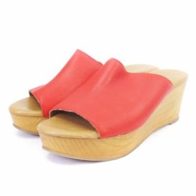 【中古】ビームスライツ BEAMS Lights サンダル ウエッジソール  厚底 赤系 レッド系 39 シューズ 靴 ■SM レディース