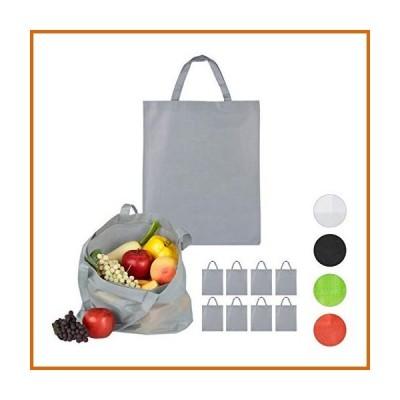 送料無料 Relaxdays Canvas Shopping Set of 10, Plain, Short Handle, Carrier Tote Bag, H x W 49.5 x 40 cm, Grey, Polyester, Gray, 65 x 40