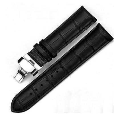 腕時計 交換バンド ベルト 本革 Dバックル 14mm 16mm 18mm 20mm 22mm 24mm バネ棒2本+工具付(黒)