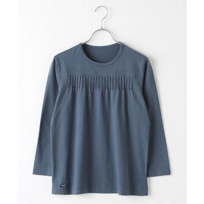 Mademoiselle NONNON/マドモアゼルノンノン ピンタックTシャツ[8分袖] インディゴブルー L
