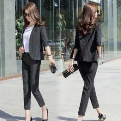 レディーススーツ ストライプ ブラック ホワイトスーツ ブルー 大きいサイズ 2点セットスーツ パンツスーツ 通勤 オフィス