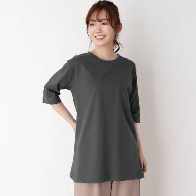 ピンクアドベ pink adobe 【M-LL】【洗える】スクエアスリット5分袖Tシャツ (チャコールグレー)