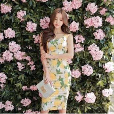 フルーツたっぷり ジューシーサマータイトワンピースドレス d0155