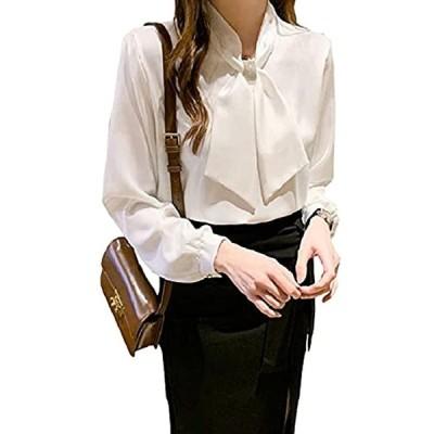 オールデーシャイニング リボンタイシャツ ホワイト ボウタイ ビジネス フォーマル パーティー シンプル 長袖(ホワイト, L)