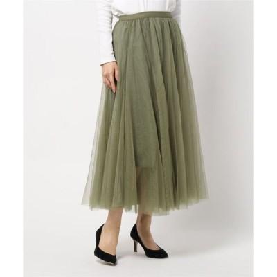 スカート ダブルチュールボリュームロングスカート