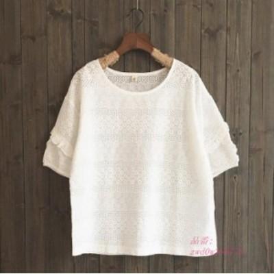 綿生地ブラウス ゆったり レディース半袖ブラウス 体型カバーシャツ 全店2点 森ガールブラウス 半袖花柄Tシャツ 3色 花柄刺繍夏シャツ