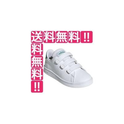 アディダス ADIDAS ADVANCOURT C [サイズ:20.0cm] [カラー:ランニングホワイト×グリーン×グレー] #EF0223