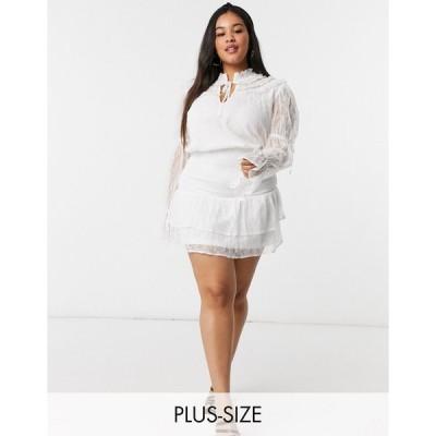 インザスタイル ドレス 大きいサイズ レディース In The Style Plus x Lorna Luxe lace high neck tie detail smock shirt dress in white エイソス ASOS ホワイ