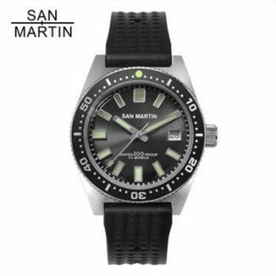 腕時計 メンズ 防水 200m San Martin 62MAS 自動巻 ステンレス 12 ルミナス ベゼル Relojes Hombre