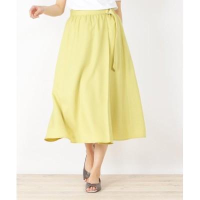 3can4on(Ladies)(サンカンシオン(レディース)) 【手洗いOK】リネン調ラップ風フレアスカート