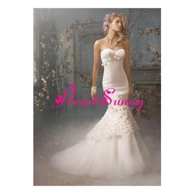 ウェディングドレス 折り目ハートネックビスチェ 花飾り マーメイド A152