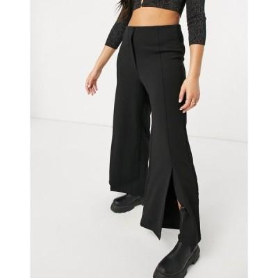 ヴィラ レディース カジュアルパンツ ボトムス Vila wide leg pants with slit front in black Black