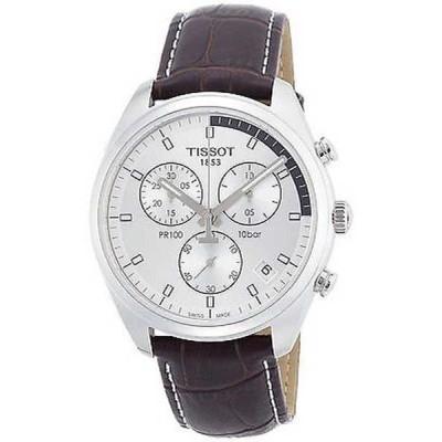 腕時計 ティソット Tissot メンズ T1014171603100 'PR 100' クロノグラフ ブラウン レザー 腕時計