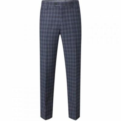 スコープス Skopes メンズ スラックス ボトムス・パンツ Barletta Wool Suit Check Trouser Blue
