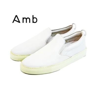 【AMB エーエムビー】レザー ローカット スリッポン【2000 ARCHY】ホワイト 白 メンズシューズ 革靴 紳士靴【サンプル品】