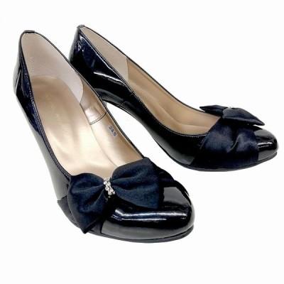 シュガーシュガー SUGARSUGAR 7528 レディース リボン付きパンプス ラウンドトゥ フォーマル靴 パーティー靴 仕事靴 通勤靴 ブラックE