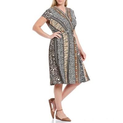 ルビーアールディー レディース ワンピース トップス Plus Size Mixed Animal Print V-Neck Short Sleeve Belted Dress