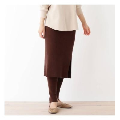 【ピンクアドベ/pink adobe】 【洗える】【毛玉ができにくい】レギンス付きニットスカート
