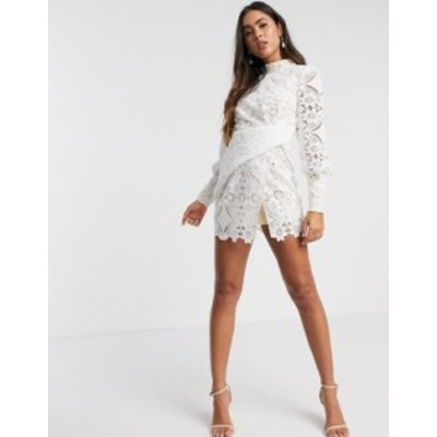エイソス レディース ワンピース トップス ASOS DESIGN mini dress in cut work lace in white White