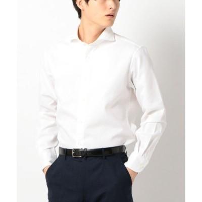 シャツ ブラウス SD: ウォッシュド ワッフル ホリゾンタルカラーシャツ(ホワイト)