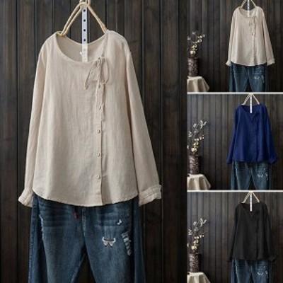 ブラウス レディース 春 秋 トップス コットンブラウス 長袖 綿tシャツ シャツ ゆったり 体型カバー 長袖Tシャツ シャツブラウス 無地 大