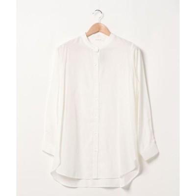 シャツ ブラウス 【抗菌加工】光沢ツイルバンドカラーシャツ