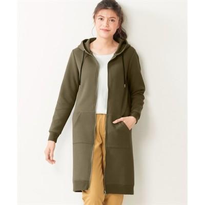 大きいサイズ 【コートとパーカーのいいとこ取り】ふっくら軽い2重編みスウェットロング丈パーカー ,スマイルランド, コート, plus size coat