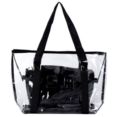 ビーチバッグ 大容量 プールバッグ クリア トートバッグ 透明 ポーチ付き ハンドバッグ クラッチバッグ メッシュバッグ 大きい マチ アウトドア ビーチグッズ