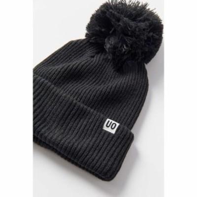 アーバンアウトフィッターズ Urban Outfitters レディース ニット ビーニー 帽子 UO Ribbed Pompom Beanie Black