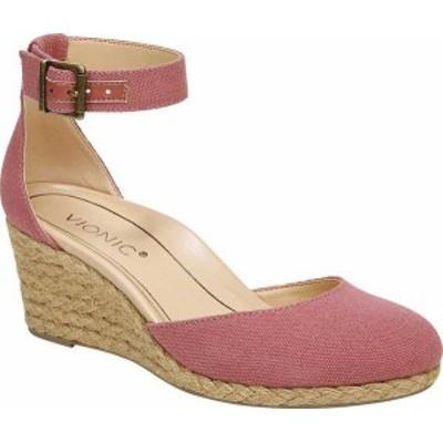 バイオニック レディース サンダル シューズ Women's Vionic Amy Ankle Strap Closed Toe Wedge Sandal Marsala Cotton/Canvas
