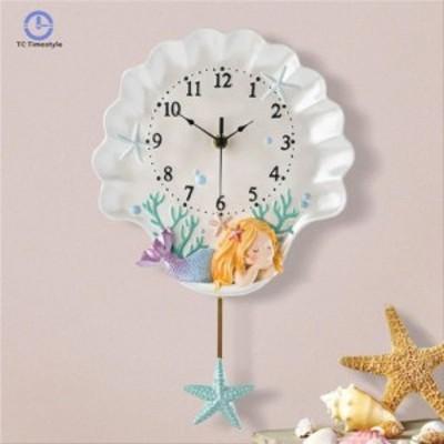 壁掛け時計 クロック かけ時計 掛け時計 .人魚姫
