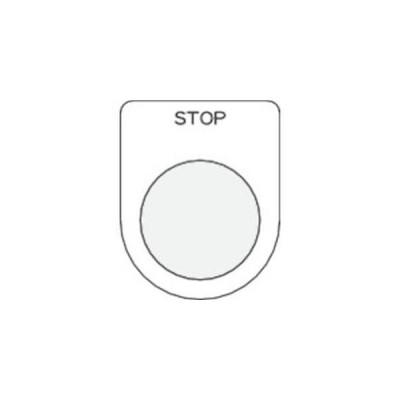 IM P22-36 押ボタン/セレクトスイッチ メガネ銘板 STOP 黒 φ22.5 アイマーク