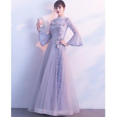 ウェディングドレス 結婚式 花嫁 二次会 パーティードレス  プリンセスライン  ブライダル 素敵 ワンピース大きいサイズ長袖花柄