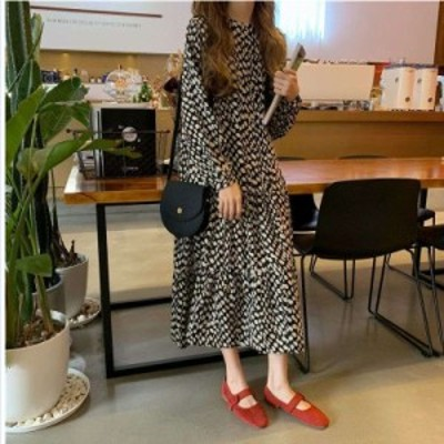 韓国 ファッション レディース ワンピース レディース ゆったり カジュアル お洒落 着痩せ 長袖ワンピース シンプル 韓国風 ロング丈ワン