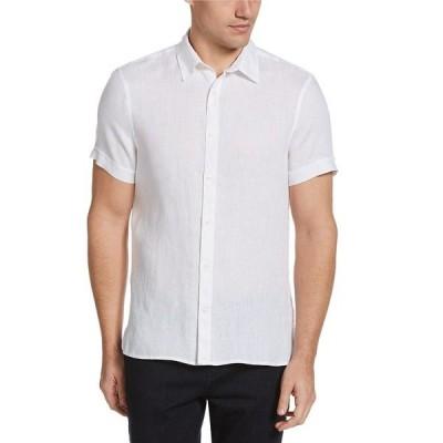 ペリーエリス メンズ シャツ トップス Big & Tall Untucked Solid Short-Sleeve Linen Woven Shirt Bright White