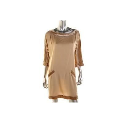 キャサリンマランドリーノ ドレス ワンピース キャットherine Malandrino 2696 レディース Beige シルク ベルベット Trim Party ドレス 4 BHFO