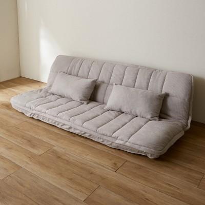 ボア毛布が暖かいもぐりこめるクッション付きソファーベッド[背もたれリクライニング】