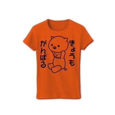 「きょうもがんばる」着ぐるみバイトぶた リブクルーネックTシャツ(オレンジ)