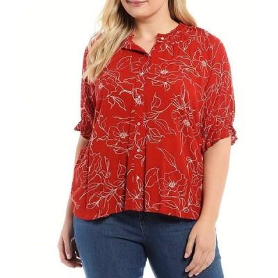 ボベー レディース シャツ トップス Plus Size Red Floral Print Ruffle Trim Neck Short Sleeve Button Down Top