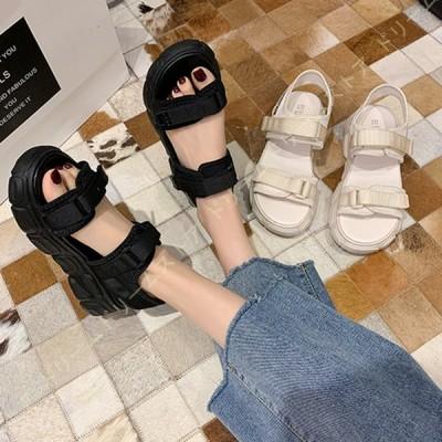 スポーツサンダル レディース スニーカーサンダル 厚底サンダル 歩きやすい 痛くない 厚底 柔らかい 防滑 軽量 カジュアル 運動靴 おしゃれ 夏ビーサン ベルト