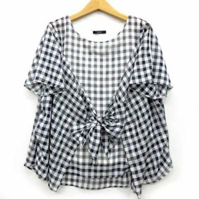【中古】ロッソ ROSSO アーバンリサーチ ギンガム チェック シャツ Tシャツ ブラウス 半袖 リボン ブラック ホワイト 黒 白 レディース