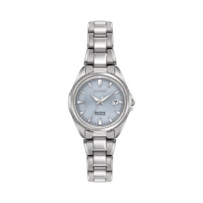 腕時計 シチズン Citizen EW2410-54L Lady's Blue Dial Titanium Bracelet Date Watch