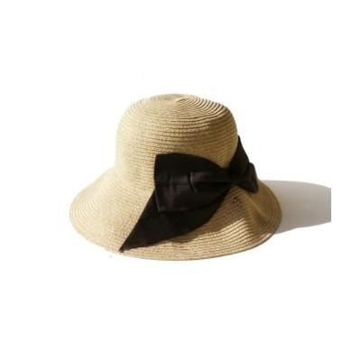 【エクレボ】 リボン 日よけ UV つば広帽 畳める レディース 帽子 トレンド UV対策 紫外線対策 グレージュ ブラック チューリップハット ユニセックス キャメル MMM exrevo