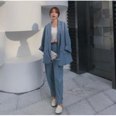 セットアップ レディース パンツスーツ ジャケット テーラードパンツ 韓国 ファッション ハイウエスト 大きいサイズ レトロ 大人可愛い