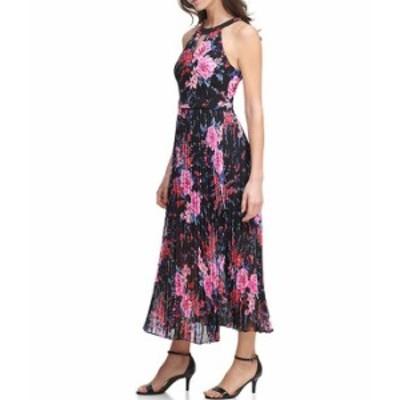 ゲス レディース ワンピース トップス Floral Pleated Keyhole Neck Sleeveless Maxi Dress Black Multi