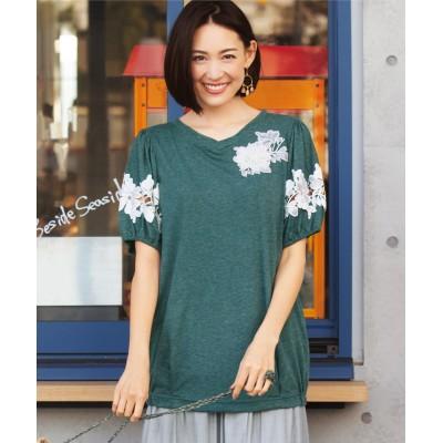 大きいサイズ 5分袖花モチーフカットソープルオーバー(オトナスマイル) ,スマイルランド, plus size T-shirts,