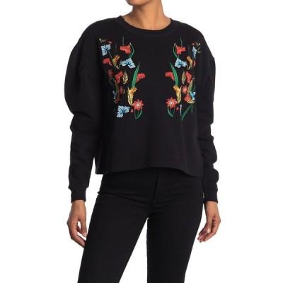 ヴェルヴェットハート レディース パーカー・スウェットシャツ アウター Janel Embroidered Puff Sleeve Pullover BLACK EMB