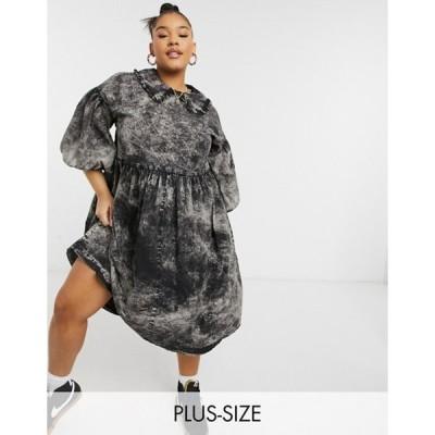 コルージョン レディース ワンピース トップス COLLUSION Plus Exclusive midi smock dress with collar in washed black