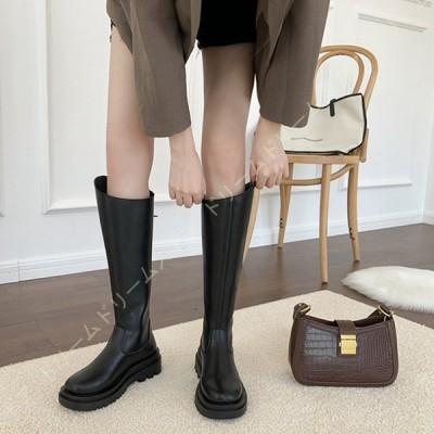 レディース ロングブーツ 膝丈ブーツ 美脚 秋 冬 長ブーツ 長靴 カジュアル ジョッキーブーツ 厚底靴 プラットフォーム 歩きやすい 疲れない おしゃれ 普段使い