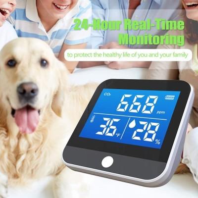 温度湿度 CO2濃度計測モニター 学校で話題 大気質検出器 オフィス 室内 教室 屋内 湿度計 ミニ